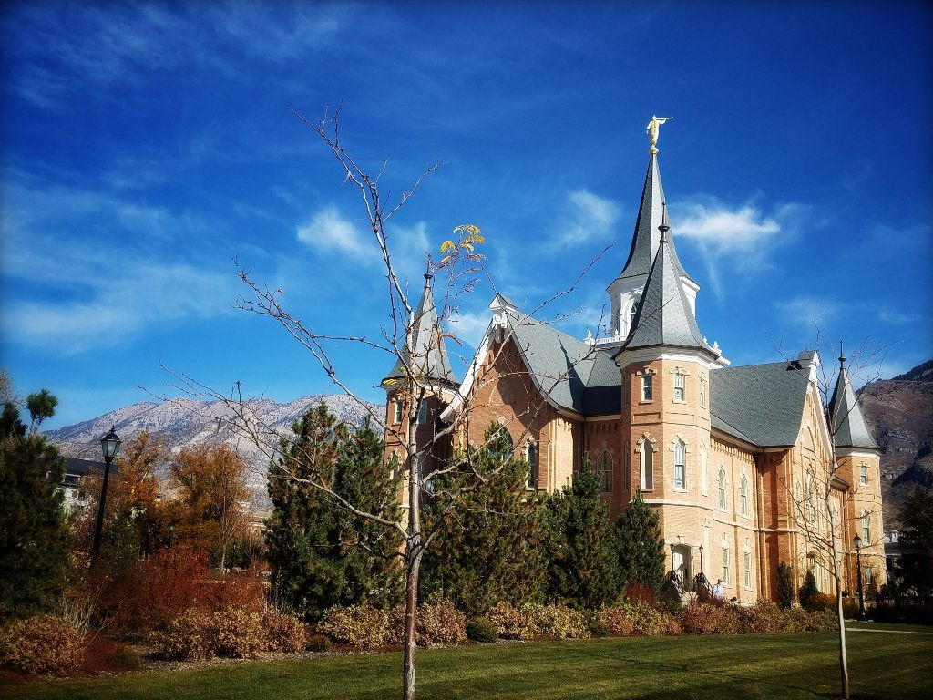 temple lds mormons mountains Provo Utah fall architectu