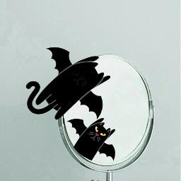 freetoedit halloween mirrorsremix mirror blackcatstickerremix