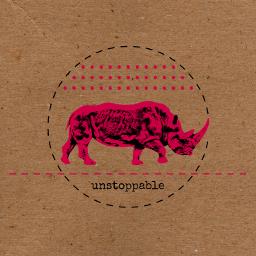 collage cutandpaste composition digitalart edit graphic unstoppable rhino strength vigor red
