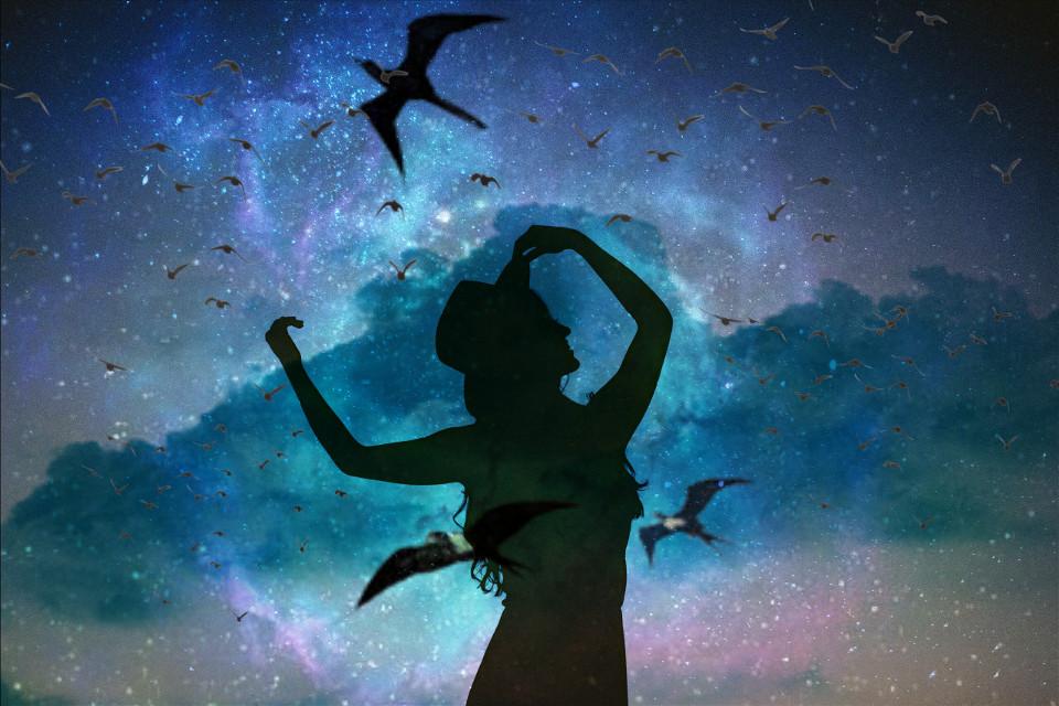 #universe #galaxy #woman #birds #cloudysky