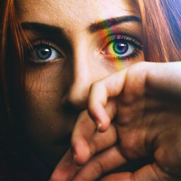 freetoedit rainbowlightcontest portrait rainbowlight blue