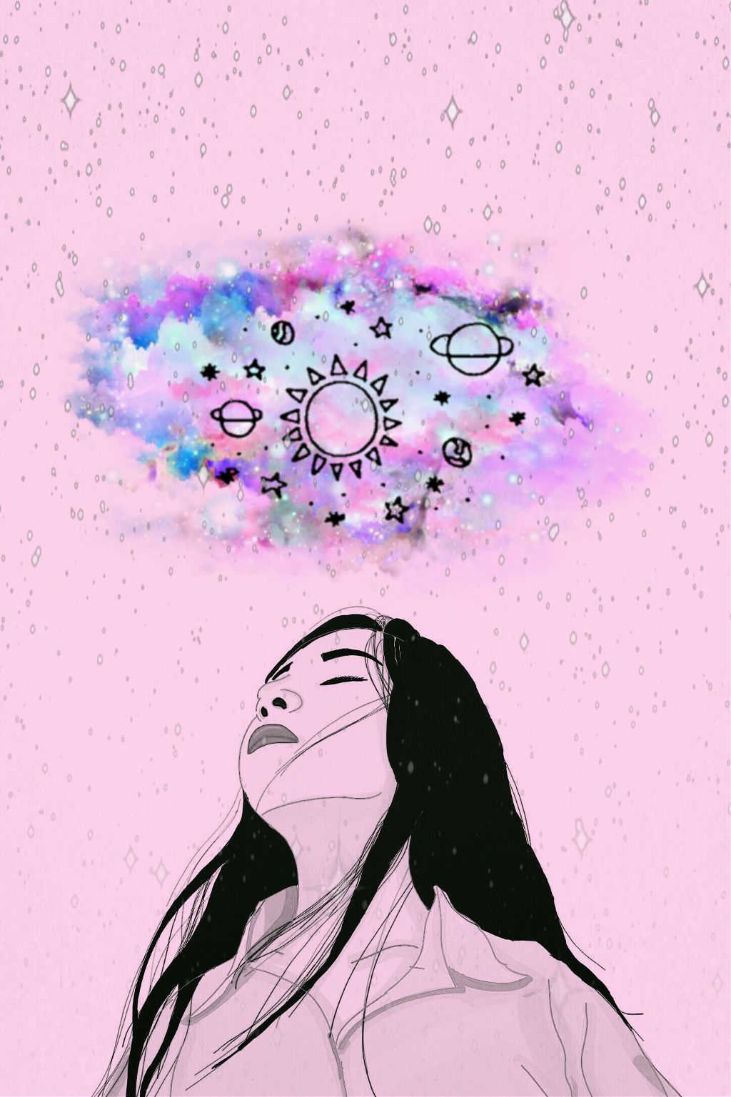 #pink #galaxy #desenho #draw #girl