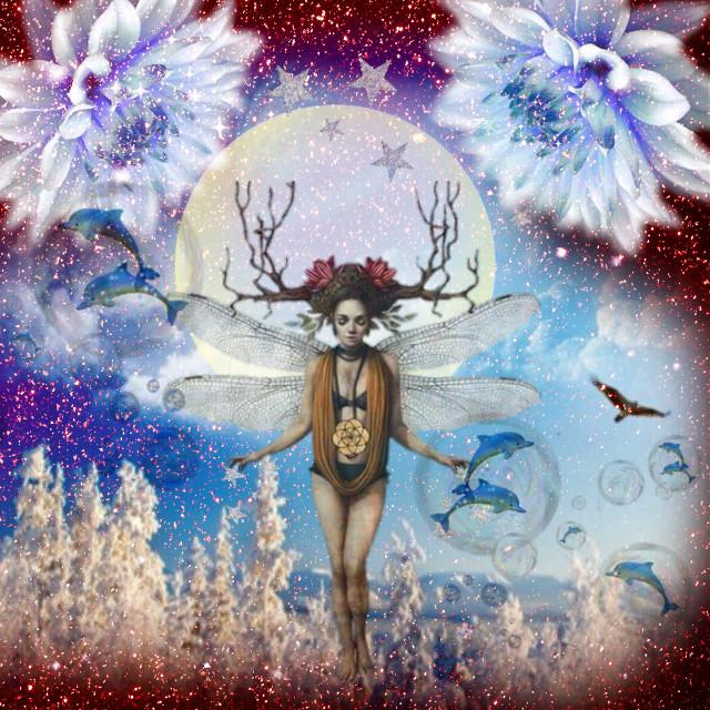 #female #flowers #flower #moon #antlers #glitter #glitterbackground