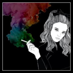 freetoedit colors girl smoke cigarette