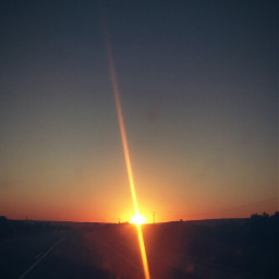 sunset road car sun sky freetoedit
