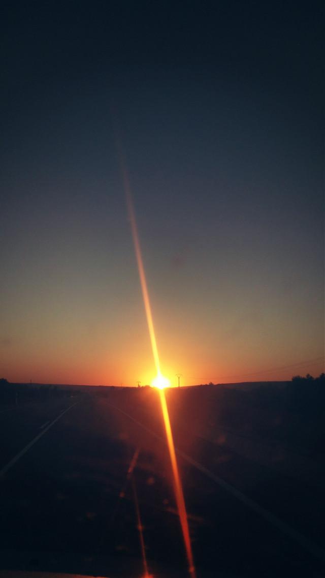 #sunset #road #car #sun #sky