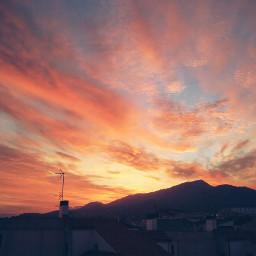 freetoedit sunset sky houses sun
