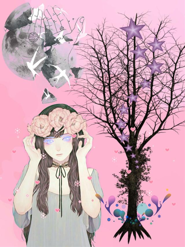#stickercollage #random #girl #tree  #moon #stars #hearts #birds