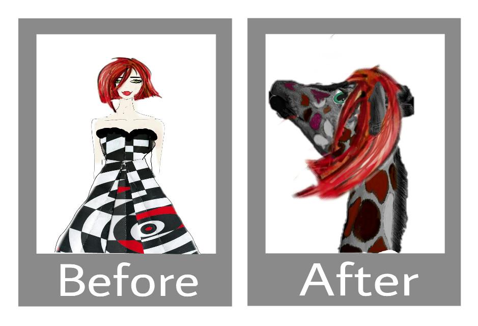 #beforeandafter #woman #dress #giraffe #colors #funnyanimals #greeneyes #madewithpicsart