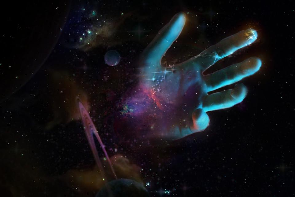 #space#fantasy@magic#hand#dark#colors