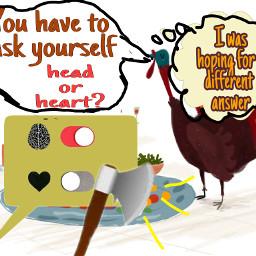 freetoedit turkeythoughts brainvsheartstickerremix callout text