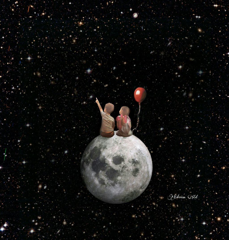 space fantasy surreal children moon balloon cute stars