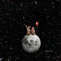 space fantasy surreal children moon