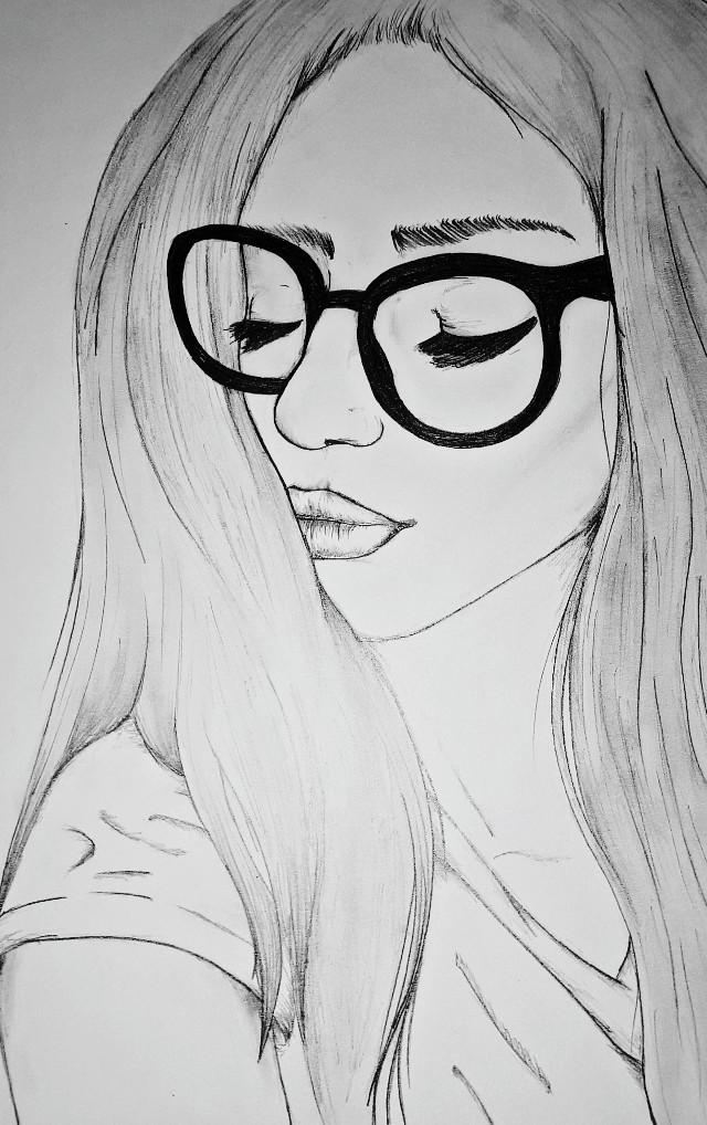 #drawing #girl #glasses #blackandwhite