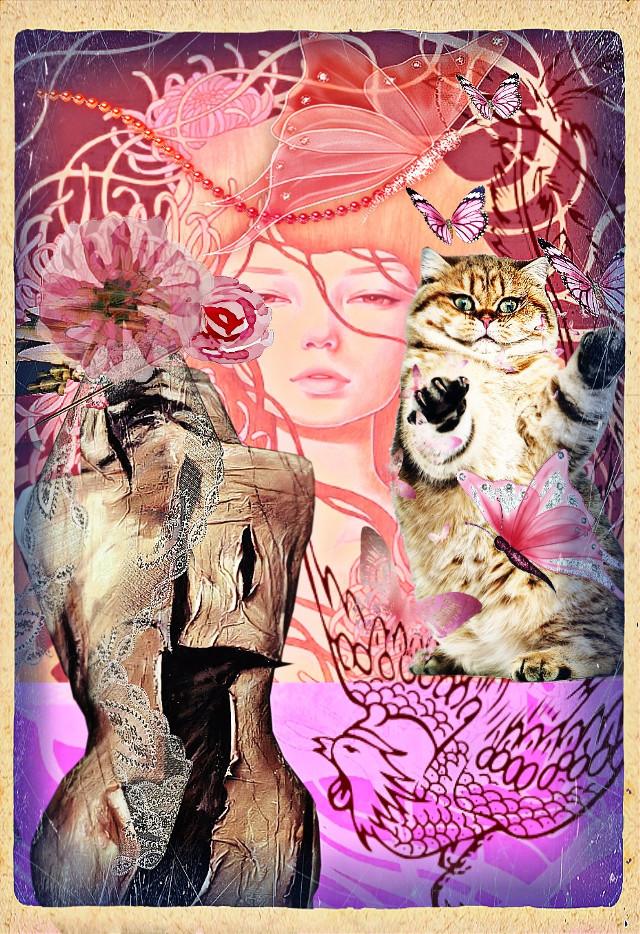 #popsurrealism #pink#girly#butterflies#audreykawasaki#collageart