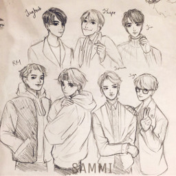 sketch illustration bts kpop mangaart