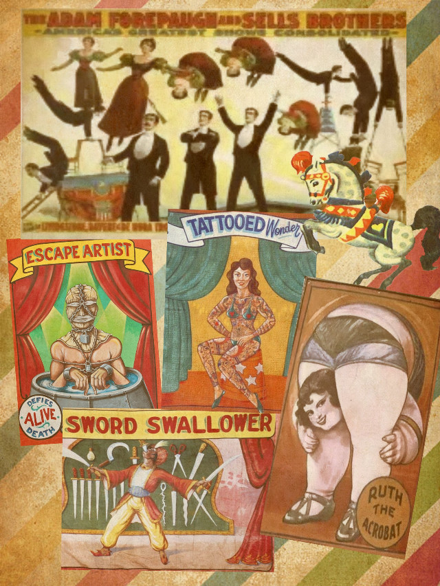 I could not resist :) #vintagecollage #retrobackground #circus #vintage #posters #papereffect