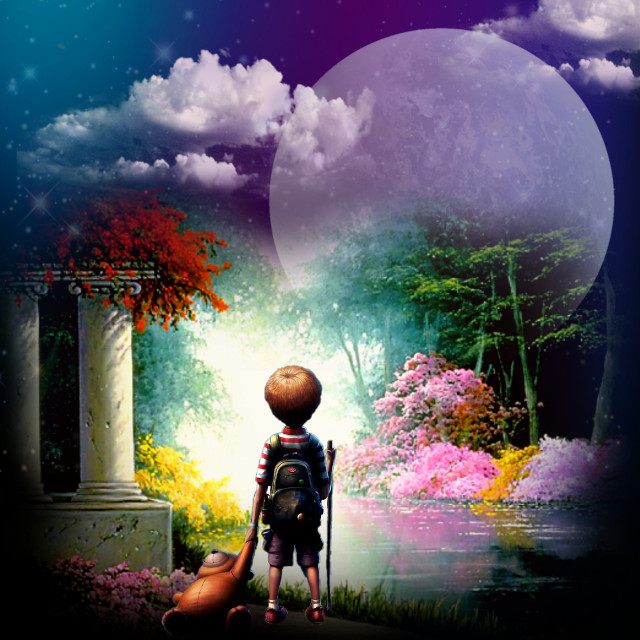 #surreal #garden #moon