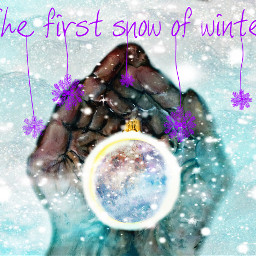 freetoedit baubles hands winter snow