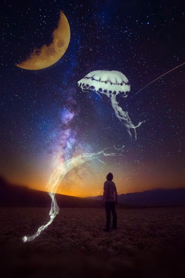 #jellyfishremix @picsart @freetoedit #sky #stars #peolpe #surreal #surrealist #myedit