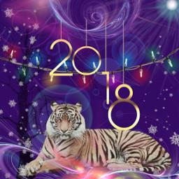 2018 happynewyear tiger snowflakes lensflare freetoedit