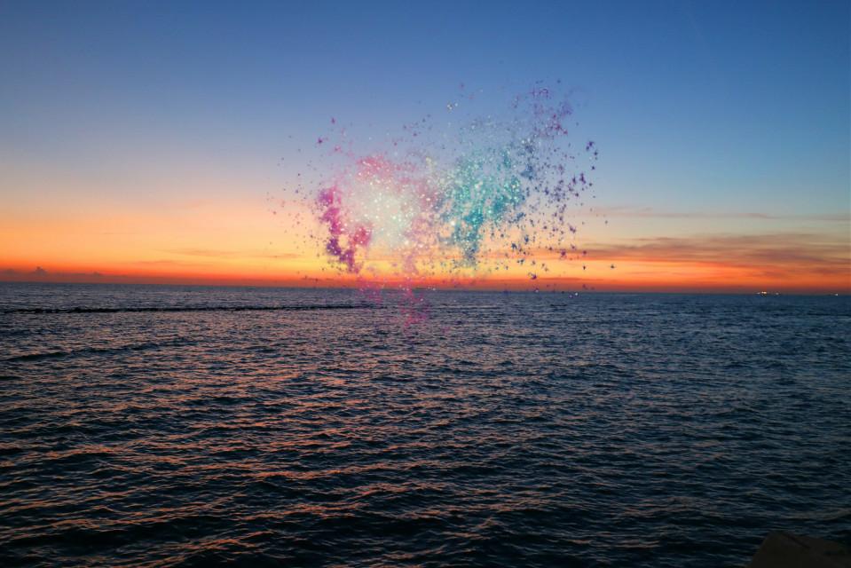 Liquid sunset..💦    #playwithpicsart #sea #sunset #colorful