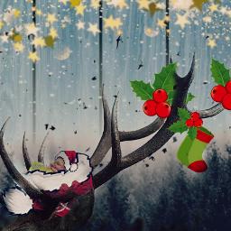 freetoedit deerremix decorationstickerremix doubleexposure reindeerhorns