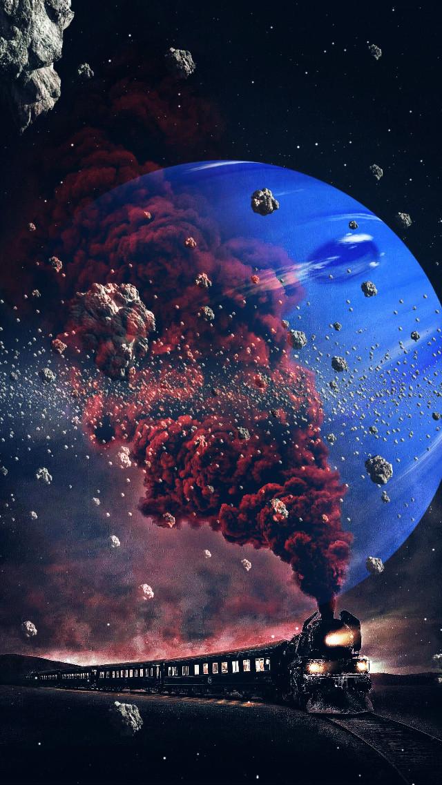 #hdr2effect #sharpeneffect  #blendedimages #traintravel #redsmoke #universe #the lost planet #fragment #orbit #night #veryvivid #inspirational #constellations #galaxy #nebula #spareofthemoment #1am #railroad #meteors