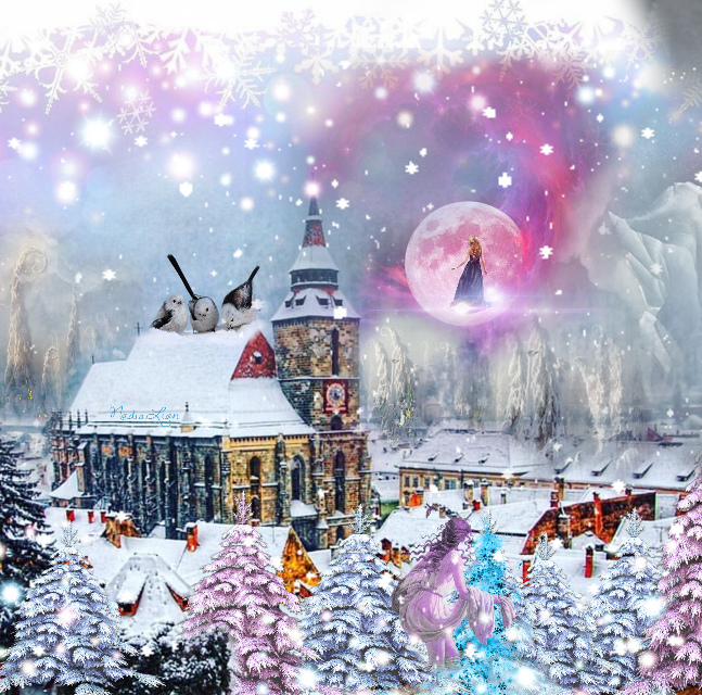 #magicwinter #myedit #landscape #magiclandscape #winterlandscape #birds #magicsilhouette #magic #surreal #brașov #romania #romanianlandscape #citty #moon #fairy #mountain #wintertime #winter #blu #white #snow #sky #clouds #magiccolours #LoveWinter