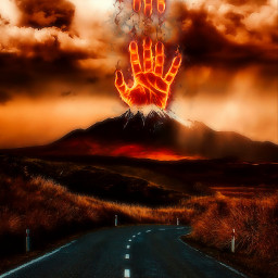 freetoedit volcano surreal hands fire