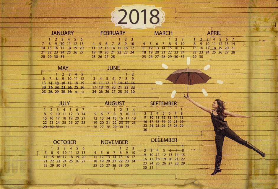 #umbrella #girl #people #girlwithumbrella #yellow #calendar #2018