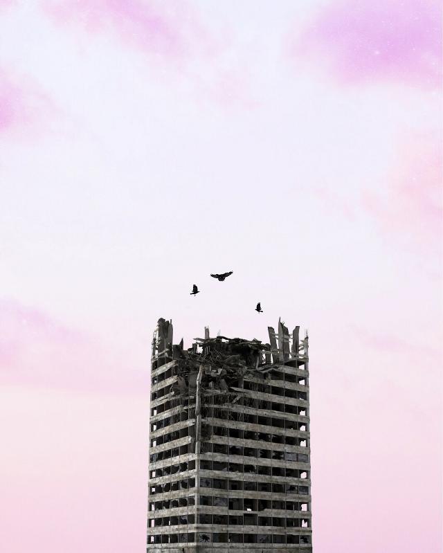#nature #building #crows #birds #fallingapart #decrepit #photography #surreal #surrealism #sky #pa #picsart building:Google