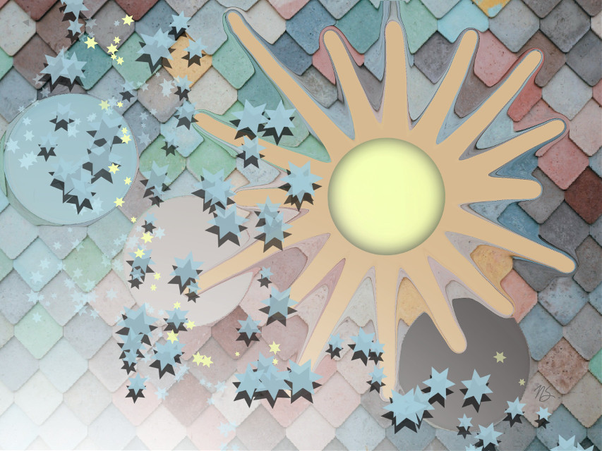 Pastel Universe #madewithpicsart #dailyremix #strechtool #shapecrop #drawstars #drawingtools #stars #sun