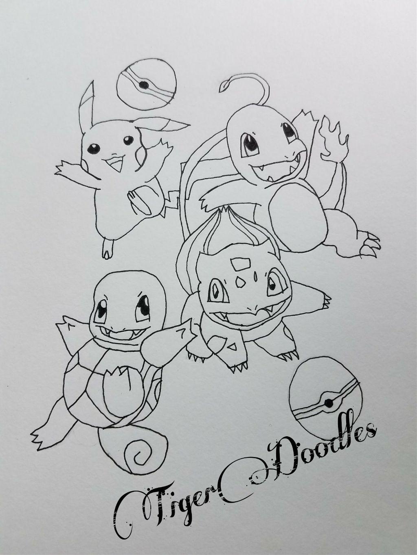 Pokemon Sketch Pikachu Squirtle Bulbasaur Charmander