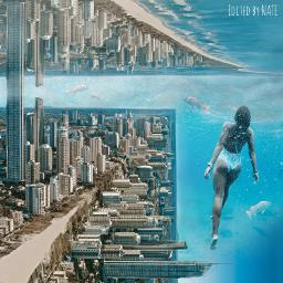 foldinglandscape city water myedit freetoedit