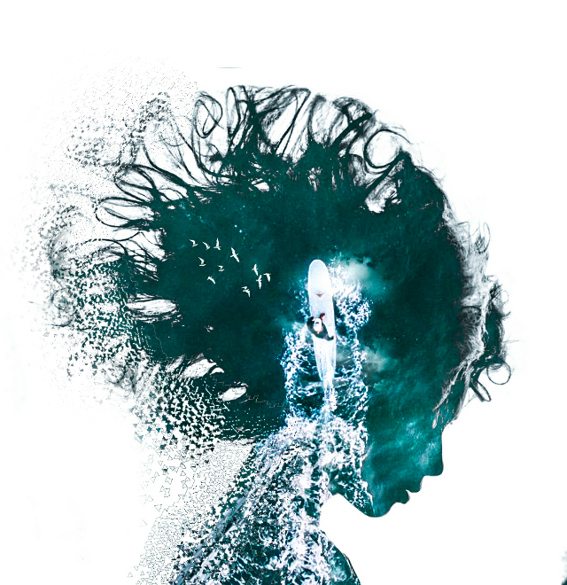 #doubleexposure #water #birds #woman #silhouette #dispersion #blue #color #lightroom