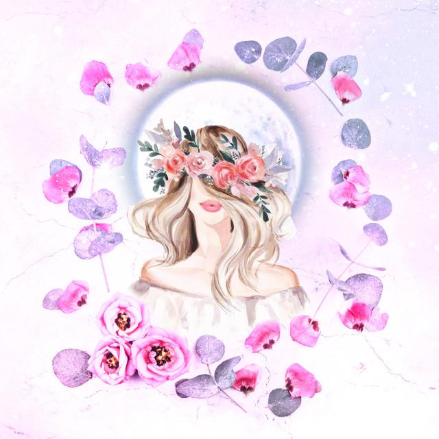 #FreeToEdit #flowers #frame #girl #moon #rose #pink