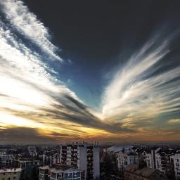 sky sun sundown city myphoto