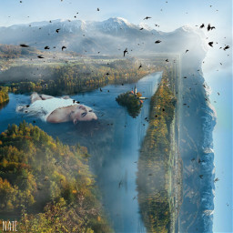 freetoedit foldinglandscape edgeoftheworld woman landscape