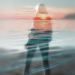 freetoedit edited doubleexposure silhouettestencil sunset