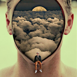 man face hole discover explore moon clouds myedit