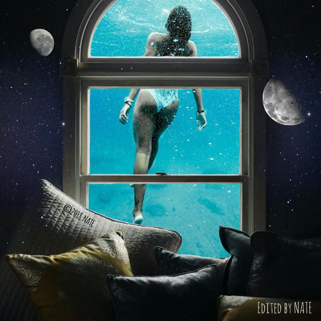 #window #water #girl #myedit (OP by Jake Lorefice, Jeremy Bishop & Kyle Gregory Devaras on Unsplash) *not free to edit*