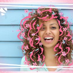 freetoedit echairart curlyhair pinkhair girl day