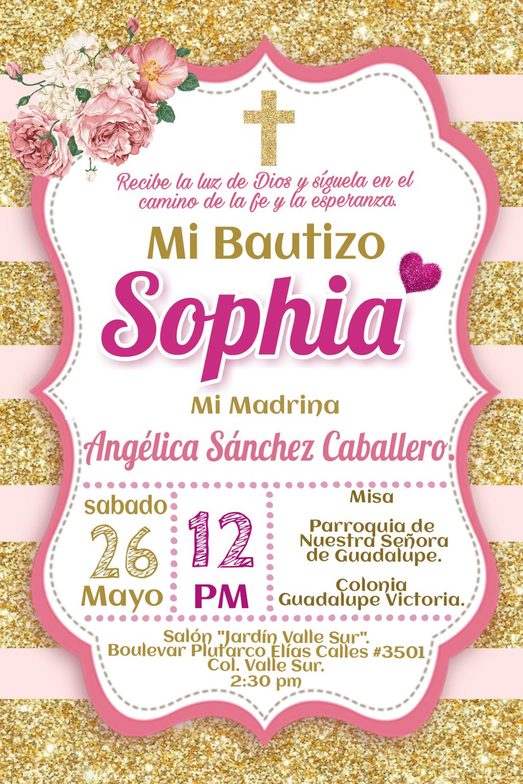 Bautizo Invitacion Invitation Cumpleaños Rosa Niña