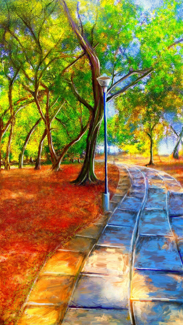 Sorry guys have been out of action for quite sometime now...the landscape at PA seems to have changed a lot while I was away! Posting my painting of a park I had visited in Goa ...enjoy! #mypainting #digitalart #park #colorful #mydrawing #beauty #nature