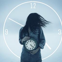 freetoedit clock ortoneffect girl ticktock