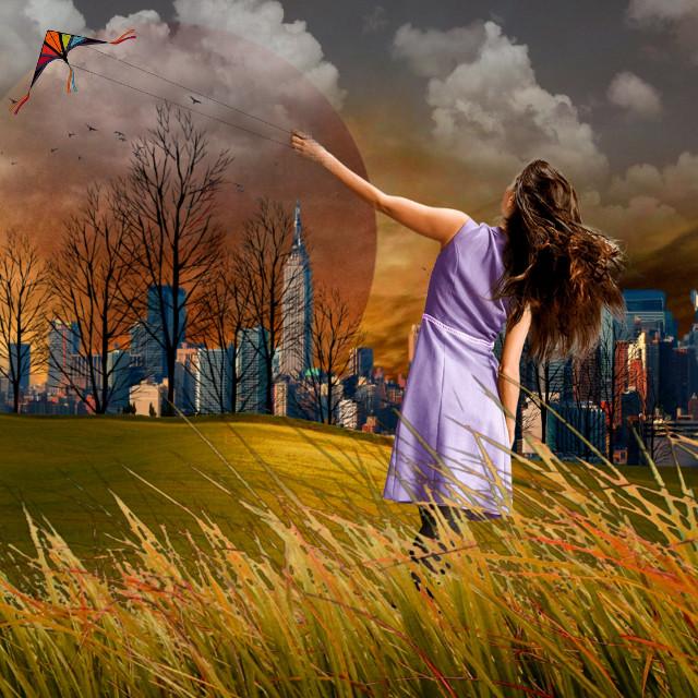 #freetoedit #surreal #planet #girl #kite #park