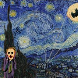 freetoedit night munch scream batman