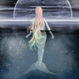 mermaid moon sea freetoedit ircmysticalmermaid