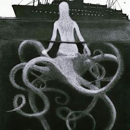 drawing mermaid octopus ship hybrid freetoedit ircmysticalmermaid